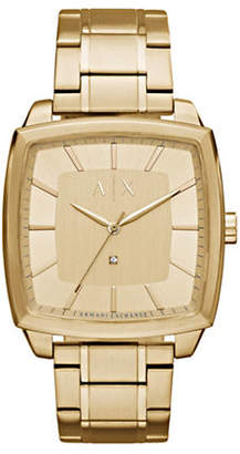 Armani Exchange Nico Quartz Three-Hand Goldtone Bracelet Watch