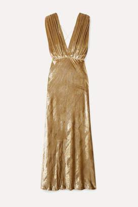 Mes Demoiselles Helen Draped Metallic Velvet Maxi Dress - Gold