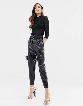 Asos Design DESIGN high waisted vinyl tapered pants