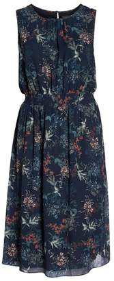 Vince Camuto Garden Floral Smocked Waist Midi Dress
