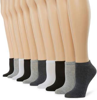 Asstd National Brand 10 Pair No Show Socks - Womens
