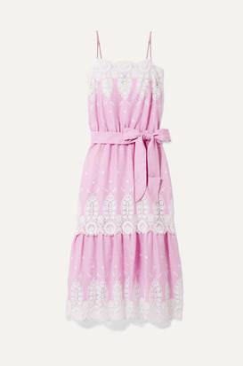 Miguelina Esme Belted Crochet-trimmed Linen Midi Dress - Pink