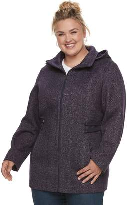 Details Plus Size Hooded Fleece Midweight Jacket