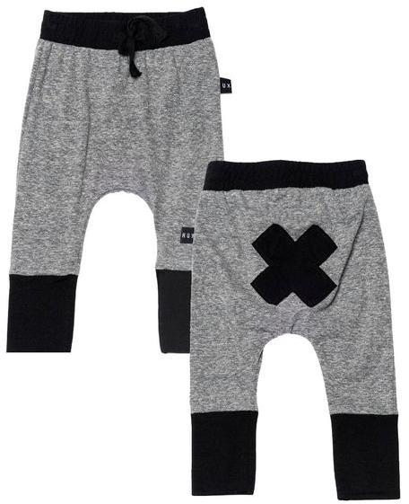 Grey Cuffed Sarouel Pants with X Back Detail