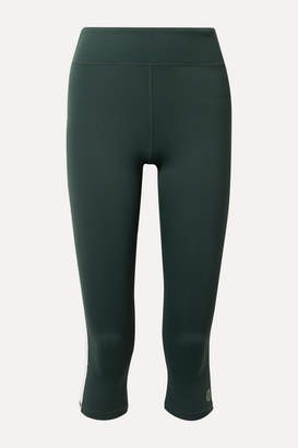 Tory Sport Cropped Striped Stretch Leggings - Forest green