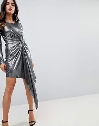 Asos Design Metallic Bodycon Knot Front Slinky Mini Dress