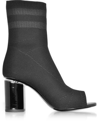 Alexander Wang Cat Black Knit Boots w/Rhodium Heel