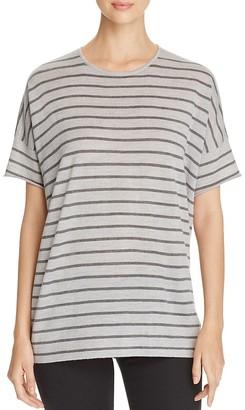 Eileen Fisher Striped Short-Sleeve Merino Wool Sweater $238 thestylecure.com