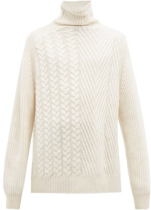 Haider Ackermann Roll Neck Cable Knit Cashmere Sweater - Mens - White