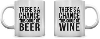 One Bella Casa There's a Chance Beer Wine Mugs (Set of 2)