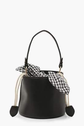 boohoo Micro Mini Check Tie Bucket Bag