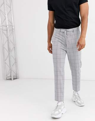 Asos Design DESIGN tapered pants in gray check with tie belt