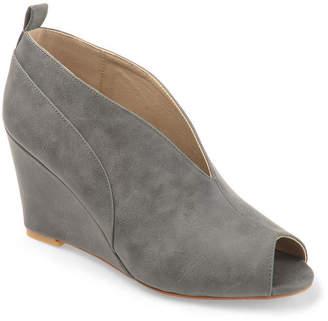 Journee Collection Womens Calista Slip-on Peep Toe Wedge Heel Pumps