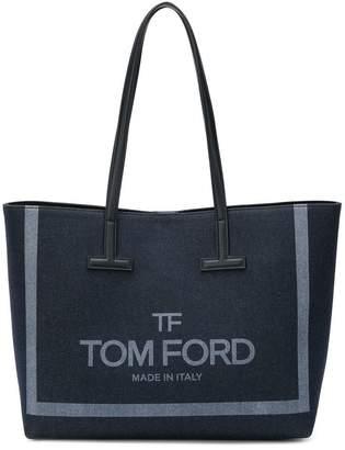 Tom Ford logo denim shopper tote