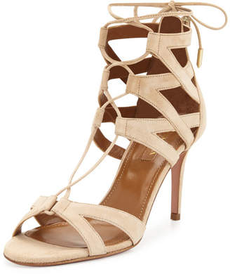 Aquazzura Beverly Hills Suede Lace-Up Sandal, Nude