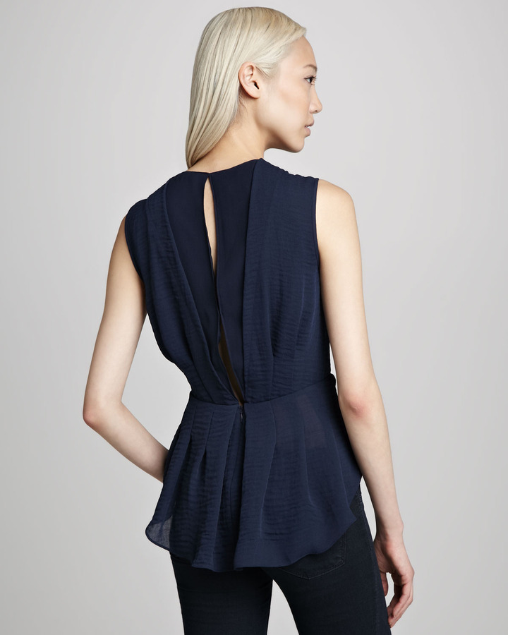 Rebecca Taylor Pleated Hammered-Crepe Top