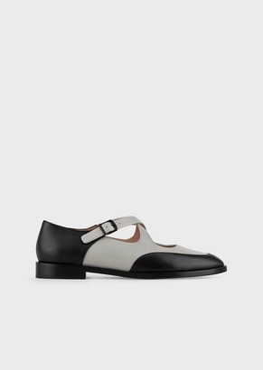 Giorgio Armani Leather Mary Janes With Cross-Over Straps