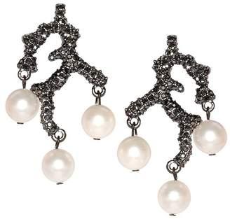 Kenneth Jay Lane Branch Pearl Drop Clip Earrings