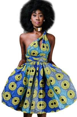 IBTOM CASTLE Women Girl African Printed Maxi Flared Skirt High Waist A Line Dress Short Multi-Way Wrap Infinity Gown with Pockets M