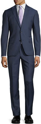 Neiman Marcus Slim-Fit Micro Wool Two-Piece Suit, Blue