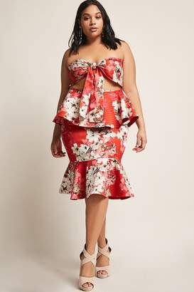 Forever 21 Plus Size Fluted Floral Skirt