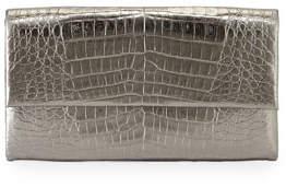 Nancy Gonzalez Simple Crocodile Flap Clutch Bag