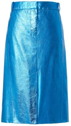 Tibi Tech Leather Trouser Skirt in Blue