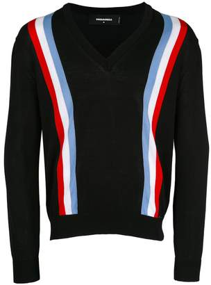 DSQUARED2 web striped cardigan