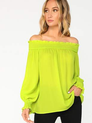 Shein Neon Lime Shirred Trim Off Shoulder Top
