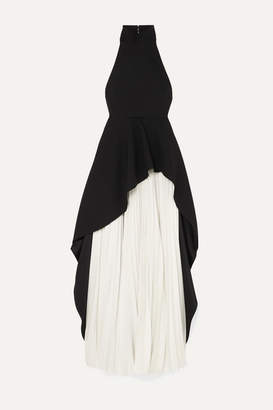 SOLACE London Lavinia Ruffled Crepe And Pleated Cady Maxi Dress - Black