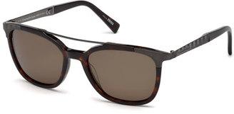 Ermenegildo Zegna Acetate & Chevron Metal Rectangular Polarized Sunglasses, Dark Havana/Gunmetal $435 thestylecure.com