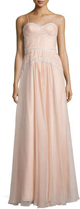 Mignon Embellished Bustier A-Line Gown, Blush