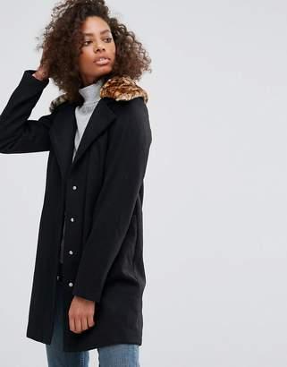 Brave Soul Pea Coat with Faux Leopard Collar