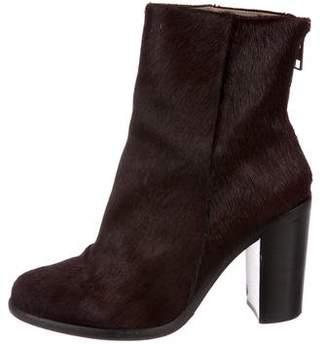 AllSaints Ponyhair Round-Toe Ankle Boots