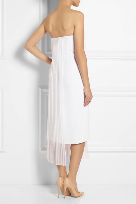 ADAM by Adam Lippes Crepe and pleated chiffon dress