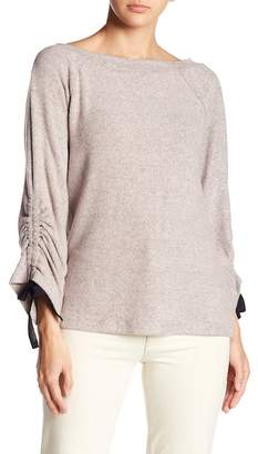 Bobeau Tie Ruched Sleeve Sweater
