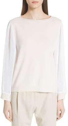 Fabiana Filippi Mesh Sleeve Cashmere Sweater