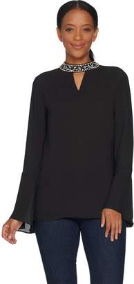Laurie Felt Bell sleeve Blouse with Jeweled Collar