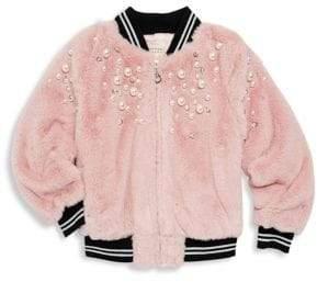 Hannah Banana Little Girl's Pearl Studded Faux Fur Bomber Jacket