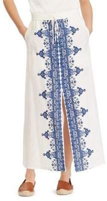 Lauren Ralph Lauren Embroidered Slit Linen Maxi Skirt