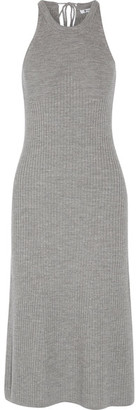 T by Alexander Wang - Ribbed Merino Wool Midi Dress - Gray $395 thestylecure.com