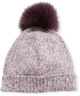Neiman Marcus Marled Cashmere Pompom Beanie Hat
