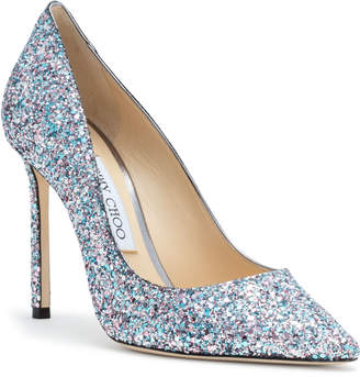 Jimmy Choo Romy 100 Light Blue Glitter Pumps