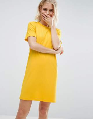 ASOS Chunky Ribbed Mini T-Shirt Dress with Half Sleeve $31 thestylecure.com