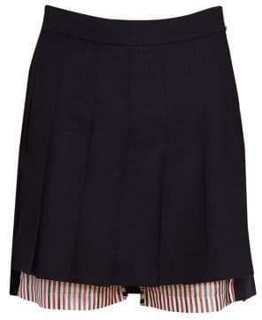 Thom Browne Pleated Mini Wool Pinstripe Short Skirt