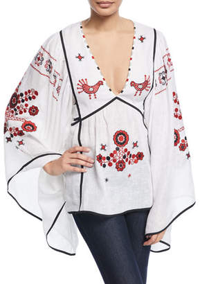 Vita Kin Country Summer Bird-Embroidered V-Neck Tieback Tunic Blouse