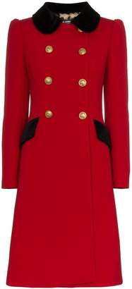 Dolce & Gabbana double breasted contrast collar wool blend coat