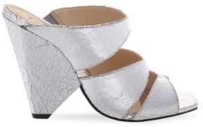 Schutz Ava Metallic Leather Cone Heels
