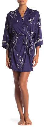 Jonquil In Bloom by Floral Lace Trim Wrap Kimono