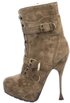 Brian Atwood Platform Suede Ankle Boots